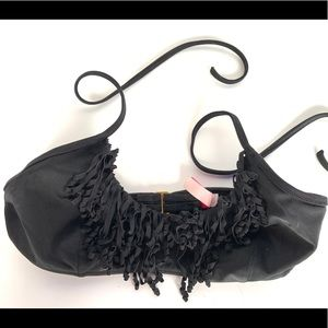 Victoria's Secret Black Fringe Tie Bikini Top
